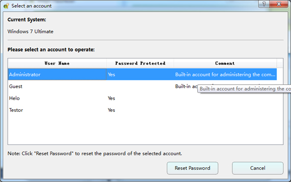 Select a target account, and reset its password.