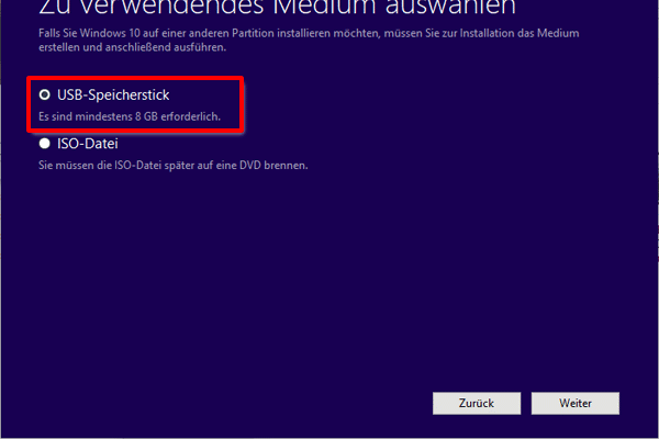 Win 10 Installationsmedien in USB Stick erstellen