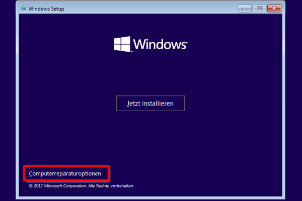 Windows 10 Computerreparaturoptionen